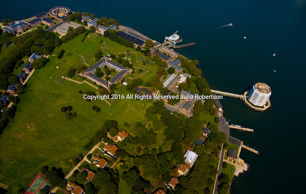 Aerial view of <br /> Fort Jay Governors island Manhattan, New York NY