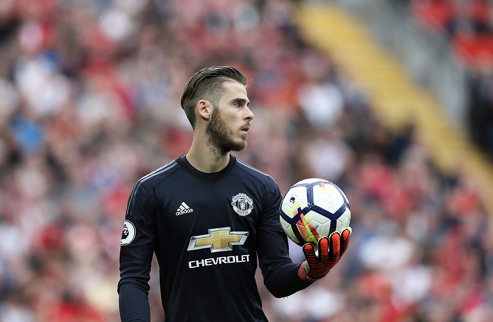 Manchester United's David De Gea<br /> <br /> Photographer Rich Linley/CameraSport<br /> <br /> The Premier League - Liverpool v Manchester United - Saturday 14th October 2017 - Anfield - Liverpool<br /> <br /> World Copyright © 2017 CameraSport. All rights reserved. 43 Linden Ave. Countesthorpe. Leicester. England. LE8 5PG - Tel: +44 (0) 116 277 4147 - admin@camerasport.com - www.camerasport.com