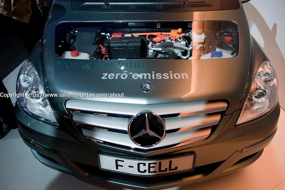 Detail of Mercedes with hydrogen fuel cell engine on display at the Frankfurt Motor Show 2009