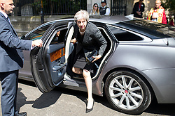 © Licensed to London News Pictures. 03/06/2018. London, UK. British Prime Minister Theresa May arrives at Southwark Cathederal to attend a service of commemoration, marking one year since the London Bridge and Borough Market terror attacks. A series of events have taken place throughout the day, including a service of commemoration at Southwark Cathedral, the planting of an olive tree in the Cathedral grounds, a minute's silence at 4:30pm and the laying of flowers.  Photo credit : Tom Nicholson/LNP
