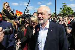 © Licensed to London News Pictures. 09/05/2017. Salford, UK. Labour Leader Jeremy Corbyn speaks to supporters and the media at a rally in Salford after the launch of the party's general election campaign this morning. Photo credit : Ian Hinchliffe/LNP