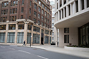 Empty streets apart from one single small figure on John Islip Street near to the MI5 Security Service building on 14th April 2021 in Westminster, London, United Kingdom.