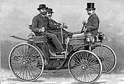Armand Peugot's (1849-1915) motor car fitted with Daimler V-twin petrol engine. First petrol driven car built in France 1889-1890. Engraving.