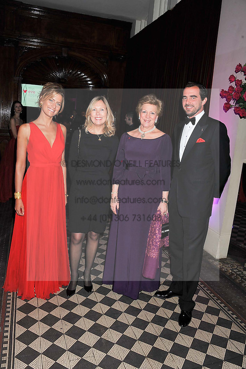 Left to right, PRINCESS TATIANA OF GREECE, JULIET HERD, QUEEN ANNE-MARIE OF GREECE and PRINCE NIKOLAOS OF GREECE at the Red & Black Valentine's Dinner & Dance in aid of The Eve Appeal at One Mayfair, North Audley Street, London W1 on 14th February 2013.