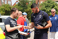AFC Wimbledon goalkeeper Tom King (1) arriving during the Pre-Season Friendly match between AFC Wimbledon and Queens Park Rangers at the Cherry Red Records Stadium, Kingston, England on 14 July 2018. Picture by Matthew Redman.