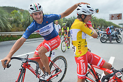 September 24, 2017 - Zhuhai, Guangdong, China - Marco Benfatto congratulates his team-mate Kevin Rivera Serran at the end of the fifth and final stage after he wins the General Classement of the 2017 Tour of China 2. .On Sunday, 24 September 2017, in Hengqin district, Zhuhai City, Guangdong Province, China. (Credit Image: © Artur Widak/NurPhoto via ZUMA Press)