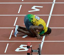 Olympics - London 2012 Olympic Games - 9/8/12.Athletics - Men's 200m - Final - Jamaica's Usain Bolt celebrates winning gold.© pixathlon *** Local Caption ***