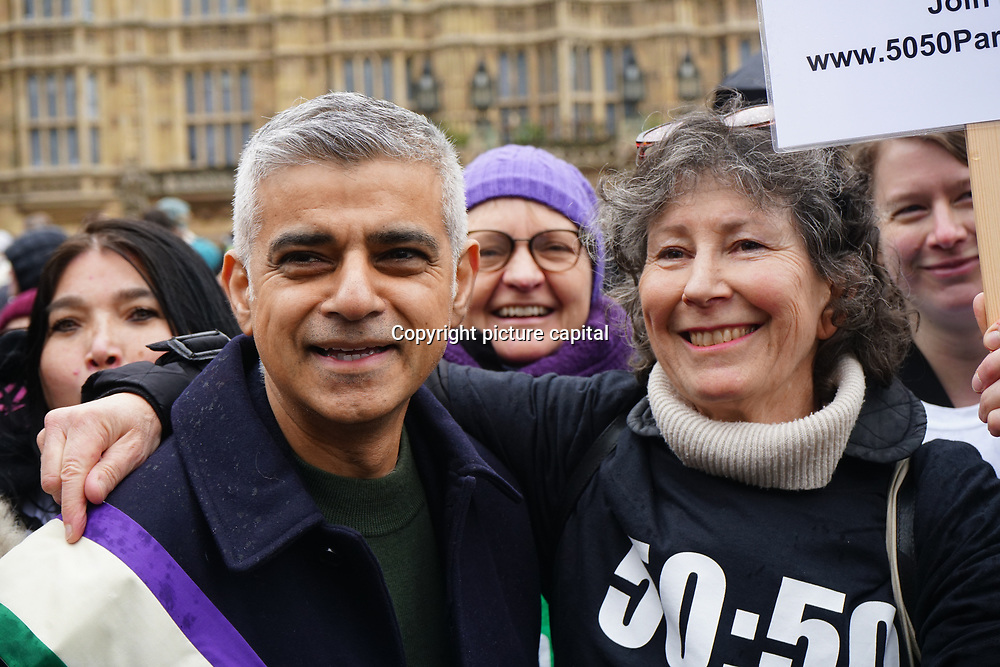 London, UK. 4th March 2018. Sadiq Khan is the Mayor of London join Women's Day march 2018 marks 100 years since (some) women in the UK were legally allowed to vote. One hundred years on women still marching for equality demand 50/50 women in  Paliament calling for an end sexual harassment, violence and rape.