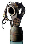 old broken military gas mask