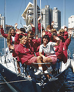 Tracy Edwards MBE [white shirt] and crew pictured on board Maiden in Uruguay following the first leg of the Whitbread race in 1989.<br /> <br /> Tracy Edwards MBE and crew have been reunited with Maiden 27 years after sailing into the history books. Maiden and her all-female crew competed in the Whitbread Round The World Race in 1989/90 winning two legs and coming second overall. Over the next 12 months, Maiden will be restored in Hamble near Southampton. She will then sail around the world as an ambassador for the Maiden Factor, to promote access to education for girls.<br /> Picture date: Monday April 24, 2017.<br /> Photograph by Christopher Ison © Empics<br /> 07544044177<br /> chris@christopherison.com<br /> www.christopherison.com
