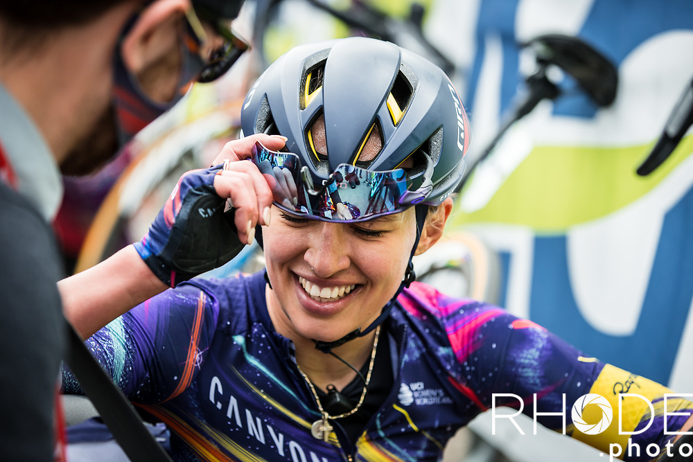 Katarzyna Niewiadoma (POL/Canyon Sram Racing) exhausted after finishing 2nd place<br /> <br /> 24th la Flèche Wallonne Féminin 2021 (1.UWT)<br /> 1 Day Race: Huy – Huy 130,5km<br /> <br /> ©RhodePhoto