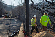 Downed power lines along Mulholland Highway. The Woolsey wildfire started on November 8, 2018 and has burned over 98,000 acres of land, destroyed an estimated 1,100 structures and killed 3 people in Los Angeles and Ventura counties and the especially hard hit area of Malibu. California, USA