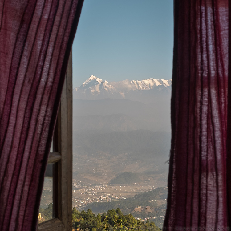 View from hotel window over Nanda Devi, the highest mountain located entirely within the country. In the Himalaya.