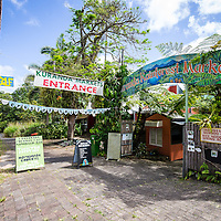 The entrance to the Kuranda Rainforest Markets in Kuranda, near Cairns in Far North Queensland.