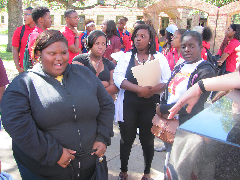 More than 100 12th grade students from Davis, Furr, Kashmere, North Forest, Worthing and Yates high schools and Young Men's College Preparatory Academy tour the campus of Texas A&M University on October 15, 2014 in College Station.