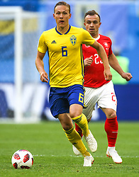 July 3, 2018 - Saint Petersburg, Russia - Ludwig Augustinsson of the Sweden national football team vie for the ball during the 2018 FIFA World Cup match, Round of 16 between Sweden and Switzerland at Saint Petersburg Stadium on July 03, 2018 in St. Petersburg, Russia. (Credit Image: © Igor Russak/NurPhoto via ZUMA Press)