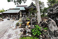 Zenzibuji Temple, Temple Number 32 - Zenzibuji temple is near Chikurinji temple on a hill facing Tosa Bay.  Zenzibu-ji is Temple number 32 on the Shikoku Pilgrimage Trail. Kobo Daishi visited this temple in 807 and trained here. Daishi wished for thesafety of ships in Tosa Bay. Inside the temple is a statue of Kannon the Goddess of Mercy and was taken as the principal image. While going through temple main gate, strangely shaped rocks stand in a row, one of which has a name called Shionomngan Rock.