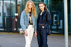 Street style, models Eliza Kallmann and Felice Nova Noordhoff after Chloe spring summer 2019 ready-to-wear show, held at Maison de la Radio, in Paris, France, on September 27th, 2018. Photo by Marie-Paola Bertrand-Hillion/ABACAPRESS.COM