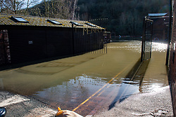 © Licensed to London News Pictures. 26/02/2020. Ironbridge, UK. Water around businesses in Ironbridge as flood defences were breached on part of the River Severn as levels continued to rise police evacuated part of the town. Photo credit: Peter Manning/LNP