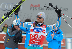 20.12.2013, Saslong, Groeden, ITA, FIS Ski Weltcup, Groeden, Herren, SuperG, Siegerpraesentation, im Bild Aksel Lund Svindal (NOR, 1. Platz) // 1st place Aksel Lund Svindal of Norway Celebrate on Podium after mens Super-G of the Groeden FIS Ski Alpine World Cup at the Saslong Course in Gardena, Italy on 2012/12/20. EXPA Pictures © 2013, PhotoCredit: EXPA/ Johann Groder