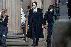 © Licensed to London News Pictures. 13/10/2020. Liverpool, UK. Robert Pattinson is spotted at St George's Hall, Liverpool, filming for The Batman. Photo credit: Kerry Elsworth/LNP