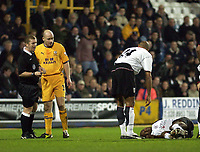 Picture: Henry Browne.<br /> Date: 04/02/2004.<br /> Fulham v Everton FA Cup Fourth Round Replay.<br /> <br /> Paul Durkin looks over at Luis Boa Morte after Lee Carsley  fouls him.