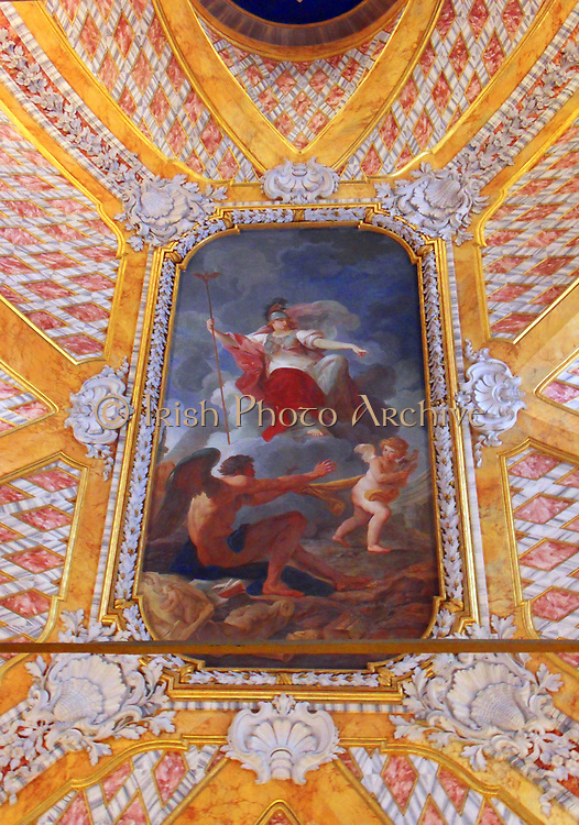 Detail from the Vatican Museums, an immense collection of classical, renaissance masterpieces etc. Founded in the early 16th century by Pope Julius II they are considered to be some of the world's greatest museums. This image shows a portion of the beautifully painted ceiling.