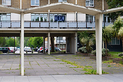 A lone Spurs flag adorn the front of a block of flats near Spurs' new stadium ahead of the club's Champions League final with Liverpool to be played at Atletico Madrid's Wanda Metropolitano Stadium in Madrid. Tottenham, London, May 29 2019.