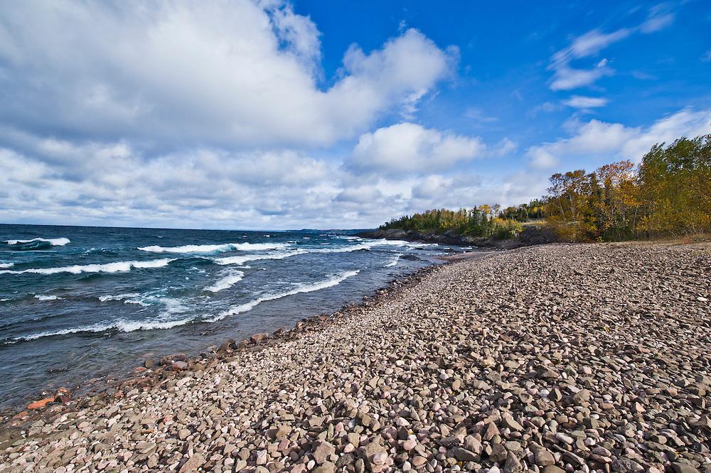Lake Superior shoreline during a fall storm in Ontario Canada.