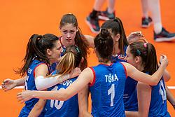 Serbia celebrate during semi final Netherlands - Serbia, FIVB U20 Women's World Championship on July 17, 2021 in Rotterdam