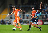 Blackpool's Will Aimson is fouled by Wycombe Wanderers' Luke O'Nien<br /> <br /> Photographer Kevin Barnes/CameraSport<br /> <br /> The EFL Sky Bet League Two - Wycombe Wanderers v Blackpool - Saturday 11th March 2017 - Adams Park - Wycombe<br /> <br /> World Copyright © 2017 CameraSport. All rights reserved. 43 Linden Ave. Countesthorpe. Leicester. England. LE8 5PG - Tel: +44 (0) 116 277 4147 - admin@camerasport.com - www.camerasport.com