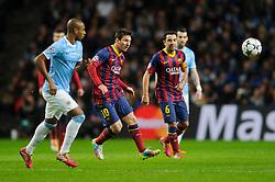 Barcelona Midfielder Lionel Messi (ARG) in action - Photo mandatory by-line: Rogan Thomson/JMP - Tel: 07966 386802 - 18/02/2014 - SPORT - FOOTBALL - Etihad Stadium, Manchester - Manchester City v Barcelona - UEFA Champions League, Round of 16, First leg.
