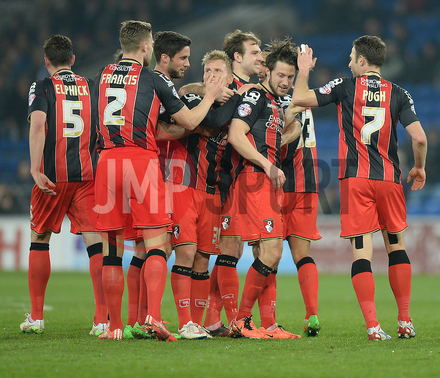Bournemouth's Harry Arter  (centre) celebrates his goal with his team.  - Photo mandatory by-line: Alex James/JMP - Mobile: 07966 386802 - 17/03/2015 - SPORT - Football - Cardiff - Cardiff City Stadium - Cardiff City v AFC Bournemouth - Sky Bet Championship