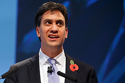 © Licensed to London News Pictures. 10/11/2014. LONDON, UK. Leader of the Labour Party Ed Miliband delivers a speech at the 2014 Confederation of British Industry (CBI) Conference, held at the Grosvenor House in London. Photo credit : Tolga Akmen/LNP