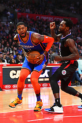 March 9, 2019 - Los Angeles, CA, U.S. - LOS ANGELES, CA - MARCH 08: Oklahoma City Thunder Forward Paul George (13) goes up for a shot defended by Los Angeles Clippers Guard Patrick Beverley (21) during a NBA game between the Oklahoma City Thunder and the Los Angeles Clippers on March 8, 2019 at STAPLES Center in Los Angeles, CA. (Photo by Brian Rothmuller/Icon Sportswire) (Credit Image: © Brian Rothmuller/Icon SMI via ZUMA Press)