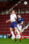 Harvey Barnes England U21s (West Bromwich Albion, loan from Leicester City) wins a header against Liam Smith Scotland U21s (Ayr United) during the U21 UEFA EUROPEAN CHAMPIONSHIPS match Scotland vs England at Tynecastle Stadium, Edinburgh, Scotland, Tuesday 16 October 2018.