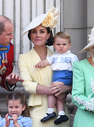 Prince Louis and The Duchess of Cambridge attending Trooping The Colour, Buckingham Palace, London. Picture credit should read: Doug Peters/EMPICS
