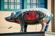 2018 FEBRUARY 12 - Racel the Pig neon sign at Pike Place Market, Seattle, WA, USA. By Richard Walker