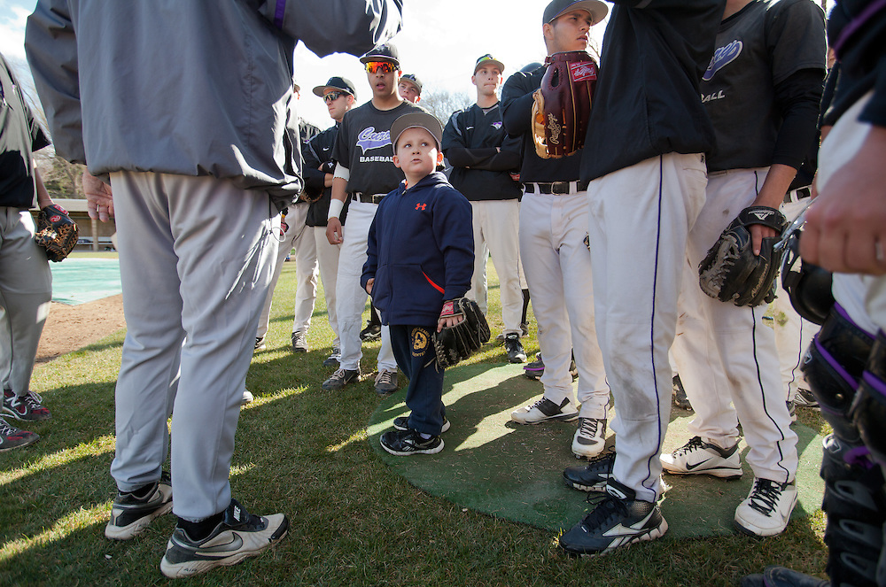 Milton, MA 04/05/2012<br /> At just 5 years old, Gavin McCarthy is the youngest member of the Curry College Colonels baseball team.