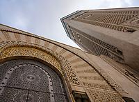 CASABLANCA, MOROCCO - CIRCA APRIL 2017: Architectural detail of the Mosque Hassan II in Casablanca.
