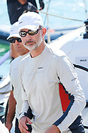 King Felipe VI of Spain on board of Aifos 500 during the 37th Copa Del Rey Mapfre Sailing Cup arrives to Real Club Nautico on July 30, 2018 in Palma, Spain