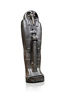 Ancient Egyptian greywacke sarcophagus lid of Ibi - late Period, 26th Dynasty (664-610BC). Egyptian Museum, Turin. white background<br /> <br /> Ibi was overseer of the priests of Thebes and chief steward of Nitocris, Divine Adoratrice of Amon during the reign of Psamtek I. The sarcophagus lid shows his hands emerging from a shroud to grasp the dfed-pillar, which allows him to rise to his feet again after resurrection. The lid weighs more than a ton and is finely sculpted. Despite the hardness of the greywacke stone the sarcophagus is made from, its makers have shown incredible skill creating a sarcophagus with intricate detail and a highly polished finish. .<br /> <br /> If you prefer to buy from our ALAMY PHOTO LIBRARY  Collection visit : https://www.alamy.com/portfolio/paul-williams-funkystock/ancient-egyptian-art-artefacts.html  . Type -   Turin   - into the LOWER SEARCH WITHIN GALLERY box. Refine search by adding background colour, subject etc<br /> <br /> Visit our ANCIENT WORLD PHOTO COLLECTIONS for more photos to download or buy as wall art prints https://funkystock.photoshelter.com/gallery-collection/Ancient-World-Art-Antiquities-Historic-Sites-Pictures-Images-of/C00006u26yqSkDOM