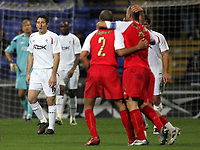 Photo: Paul Thomas.<br /> Bolton Wanderers v Braga. UEFA Cup. 25/10/2007.<br /> <br /> Dejected Andranik (16) of Bolton as Braga (Red) score to level.