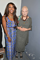 Left to right, ALEXANDRA BURKE and DAME VIVIENNE WESTWOOD at the OFFtheGRID event - a solar-powered party on a London rooftop to support our renewable energy future hosted by Dame Vivienne Westwood supported by the Trillion Fund at 151-155 New North Road, London N1 on 4th September 2014.