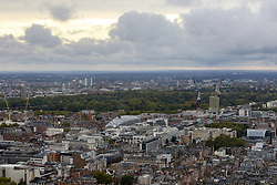 © Licensed to London News Pictures. 22/09/2019. London, UK. An aerial view of London showing dark rain clouds over the capital including Hyde Park seen from BT Tower. Photo credit: Dinendra Haria/LNP