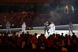 ABU DHABI, March 22, 2019  American singer Nicole Scherzinger (C) performs during the closing ceremony of the 2019 Abu Dhabi Special Olympics World Games in Abu Dhabi, the United Arab Emirates, on March 21, 2019. (Credit Image: © Mengtao/Xinhua via ZUMA Wire)
