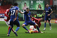 AFC Wimbledon defender Ben Purrington (3) battles for possession during the EFL Sky Bet League 1 match between Charlton Athletic and AFC Wimbledon at The Valley, London, England on 15 December 2018.