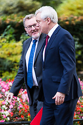 London, October 17 2017. Scotland Secretary David Mundell and Secretary of State for Exiting the European Union David Davis (right) attend the UK cabinet meeting at Downing Street. © Paul Davey