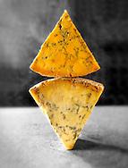 English blue cheese wedges - stilton, white stilton amd blacksticks
