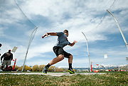 PRICE CHAMBERS / NEWS&GUIDE<br /> Spencer Seeton winds up for his next throw during the discus event at the Lynn Williams Invitational track meet on Wednesday.